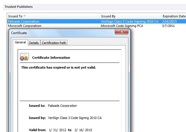 Certificate expiration message